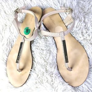 CK Blush Pink and Gold Metal Flat Sandals Size 8